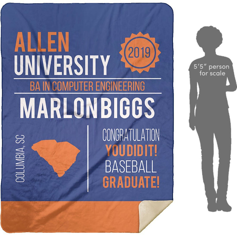Personalized Graduation Blanket - Custom Sherpa Blanket with Name, School Name, State and any Favorite Quote or Titles with Special Meanings - Blue - YehGift