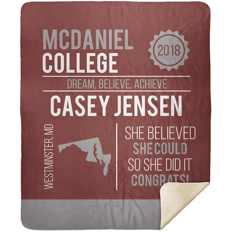 Personalized Graduation Blanket - Custom Sherpa Blanket with Name, School Name, State and any Favorite Quote or Titles with Special Meanings - Dark Red - YehGift