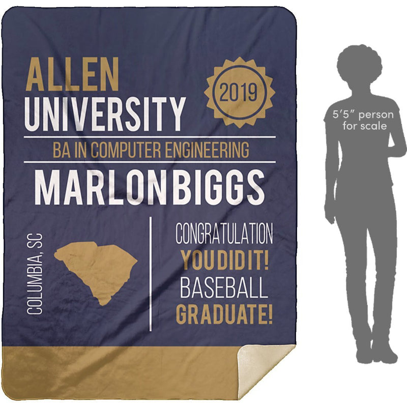 Personalized Graduation Blanket - Custom Sherpa Blanket with Name, School Name, State and any Favorite Quote or Titles with Special Meanings - Navy - YehGift