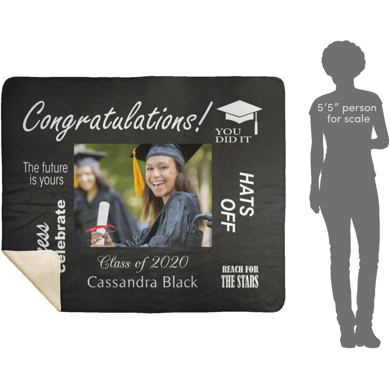 Personalized Graduation Blanket Custom Sherpa Blanket with Your Photo & Name and Graduation Year Best Gift for Graduate Congratulation - YehGift