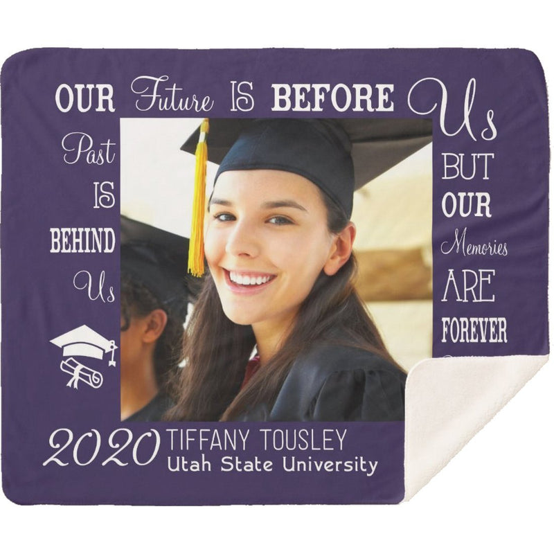 Personalized Graduation Blanket - Custom Sherpa Blanket with Your Photo, School Name and Your Name Best Gift for Graduation Congratulation Celebration - YehGift