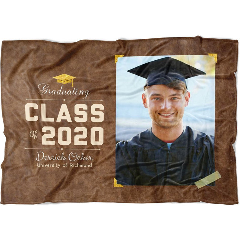 Personalized Graduation Blanket Super Soft Fleece Blanket Custom From Your Photo & Name and Graduation Year Best Gift for Graduate Congratulation - YehGift