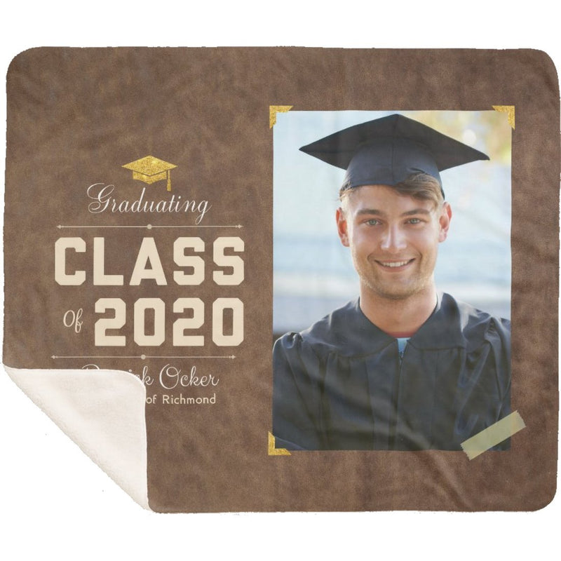 Personalized Graduation Blanket Super Soft Sherpa Blanket Custom From Your Photo & Name and Graduation Year Best Gift for Graduate Congratulation - YehGift