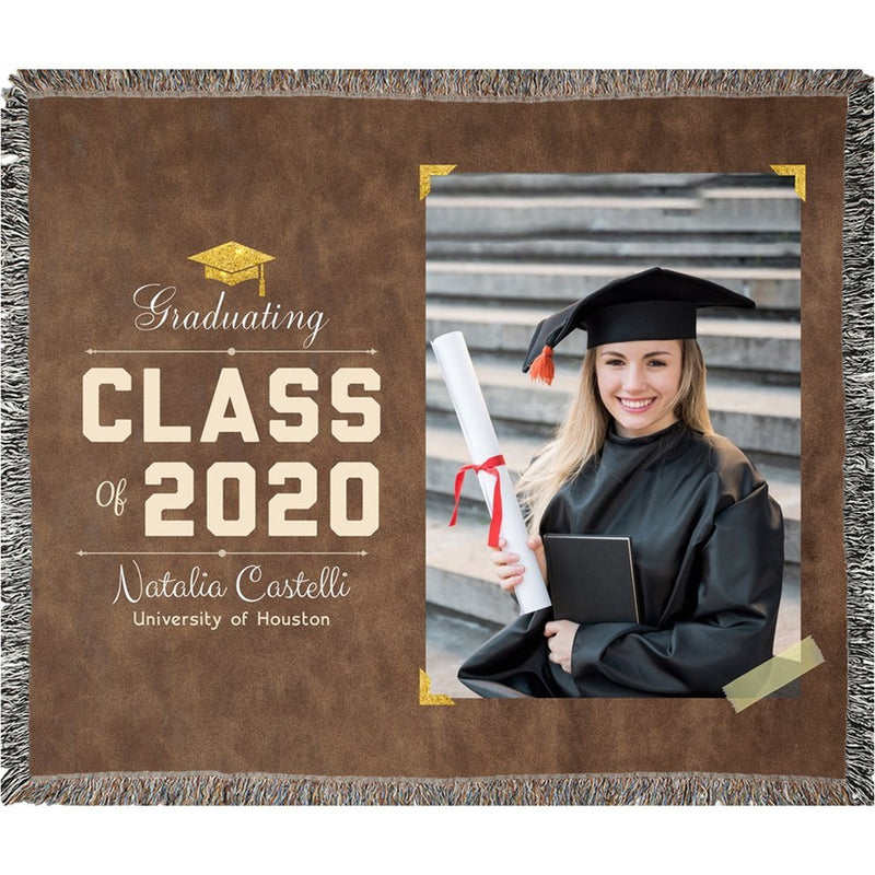 Personalized Graduation Blanket Super Soft Woven Blanket Custom From Your Photo & Name and Graduation Year Best Gift for Graduate Congratulation - YehGift