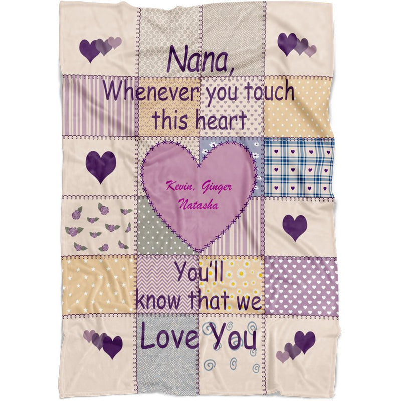 Personalized Grandma Grandpa Name Fleece Blanket. Whenever you touch this heart You'll know that We Love You. Custom with any Title & upto 8 Names - YehGift