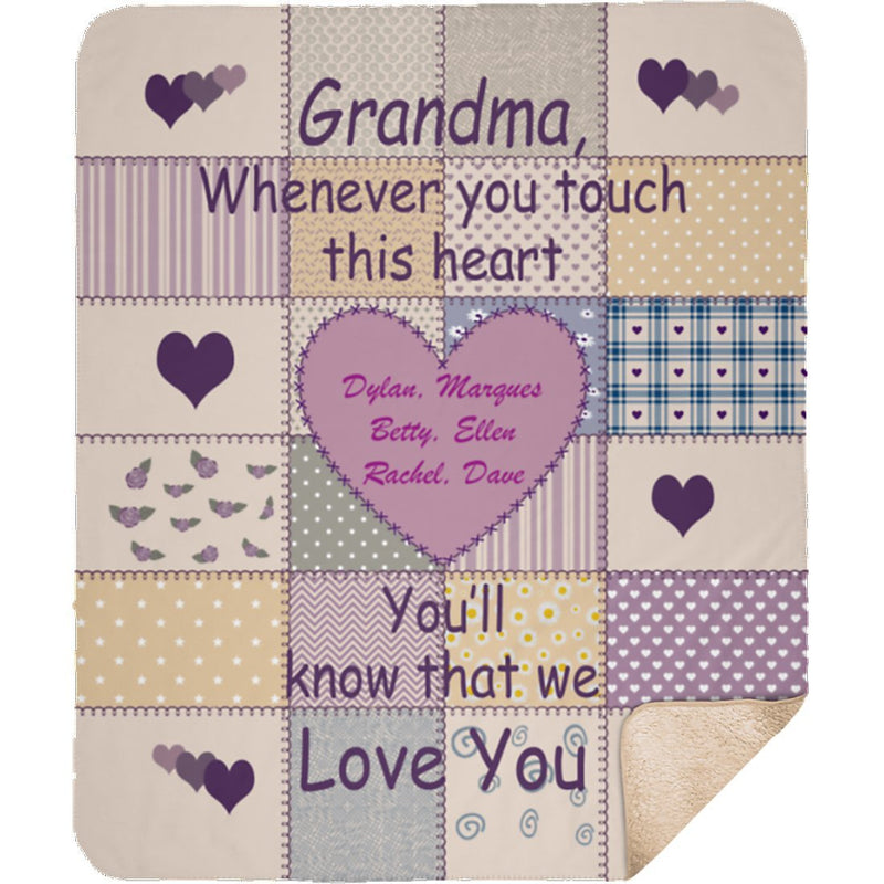 Personalized Grandma Grandpa Name Sherpa Blanket. Whenever you touch this heart You'll know that We Love You. Custom with any Title & upto 8 Names - YehGift