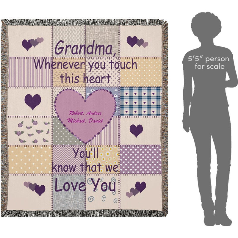 Personalized Grandma Grandpa Name Woven Blanket. Whenever you touch this heart You'll know that We Love You. Custom with any Title & upto 8 Names - YehGift