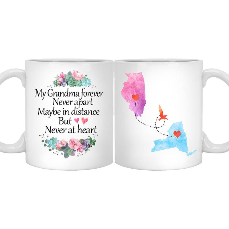 Personalized Long Distance State Coffee Mug, Customized All States. Great Gift for Daughter, Son, grandkids, friends on Mother's Day, Father's Day, Birthday, Christmas - YehGift