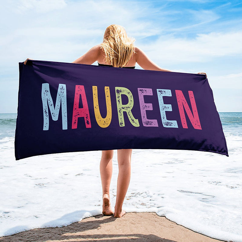 Personalized Name Beach Towel - Personalized Beach Towels for Women Kids Girls Boys Adults Men - Colour Name - YehGift