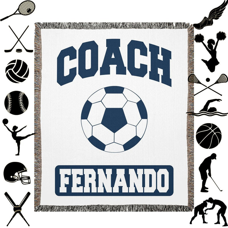 Personalized Name Blanket - Coach Gifts for Women and Men - Customize with 15 Sports Baseball Basketball Cheerleading Football Golf Gymnastics Hockey Lacrosse Soccer Softball Swimming Tennis Track & Field Volleyball Wrestling - Woven Blanket - YehGift
