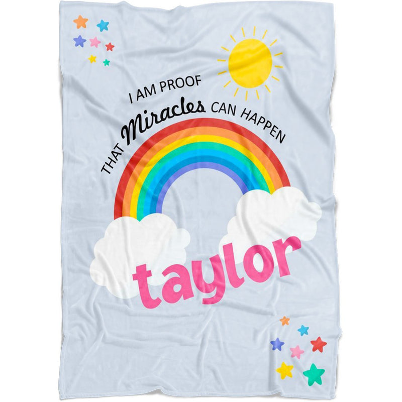 Personalized Name Blanket - Proof That Miracles Can Happen Customized Rainbow Blanket from Baby's Name for Girls and Boys - Fleece Blanket - YehGift