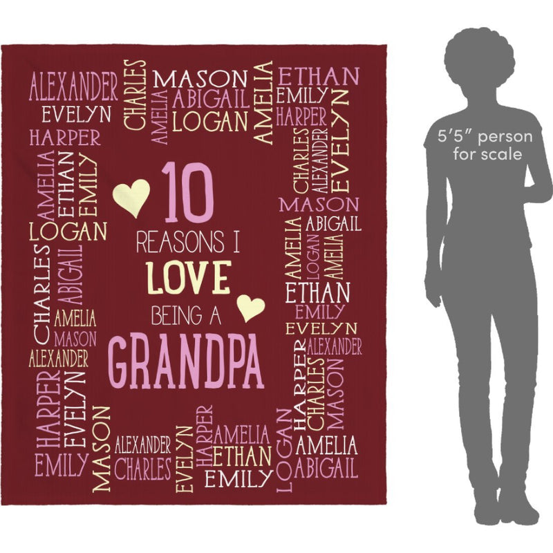Personalized Name Blanket - Reasons I Love Being a Grandpa Grandma Papa Mommy Nana - Burgundy Fleece Blanket - YehGift