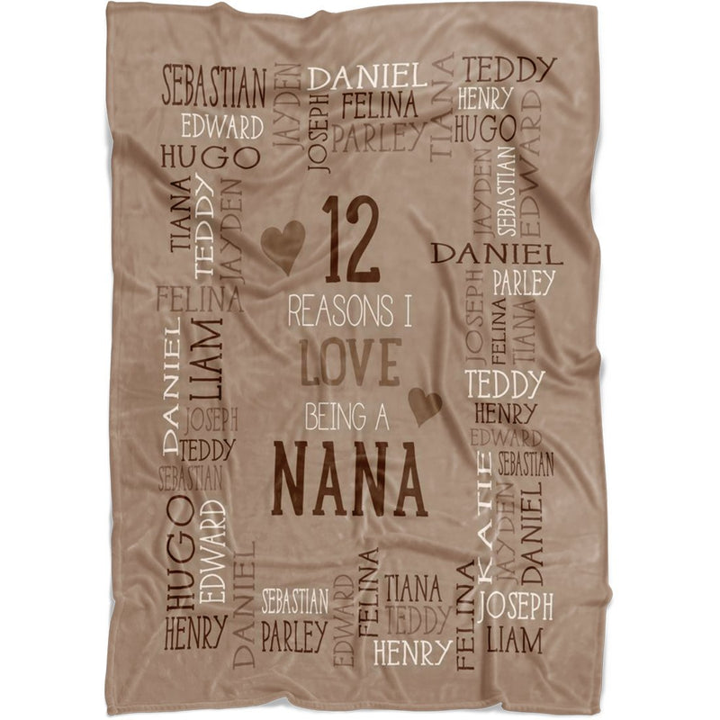 Personalized Name Blanket - Reasons I Love Being a Grandpa Grandma Papa Mommy Nana - Coffee Fleece Blanket - YehGift