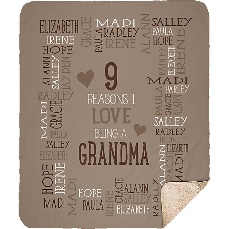 Personalized Name Blanket - Reasons I Love Being a Grandpa Grandma Papa Mommy Nana - Coffee Sherpa Blanket - YehGift