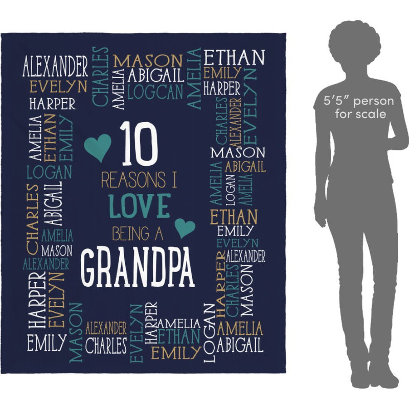 Personalized Name Blanket - Reasons I Love Being a Grandpa Grandma Papa Mommy Nana - Navy Fleece Blanket - YehGift