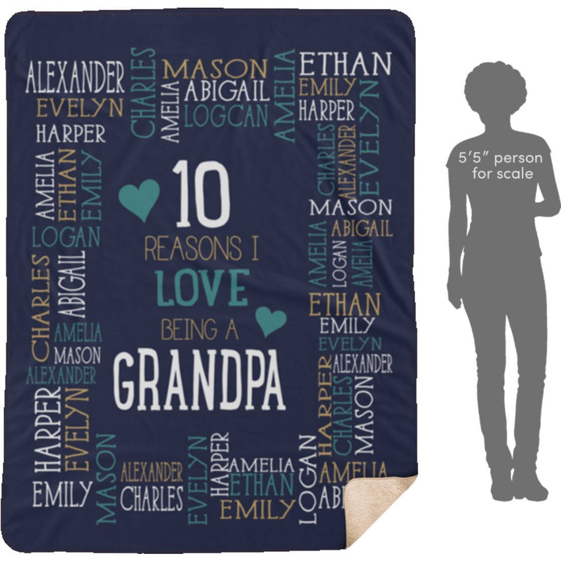 Personalized Name Blanket - Reasons I Love Being a Grandpa Grandma Papa Mommy Nana - Navy Sherpa Blanket - YehGift