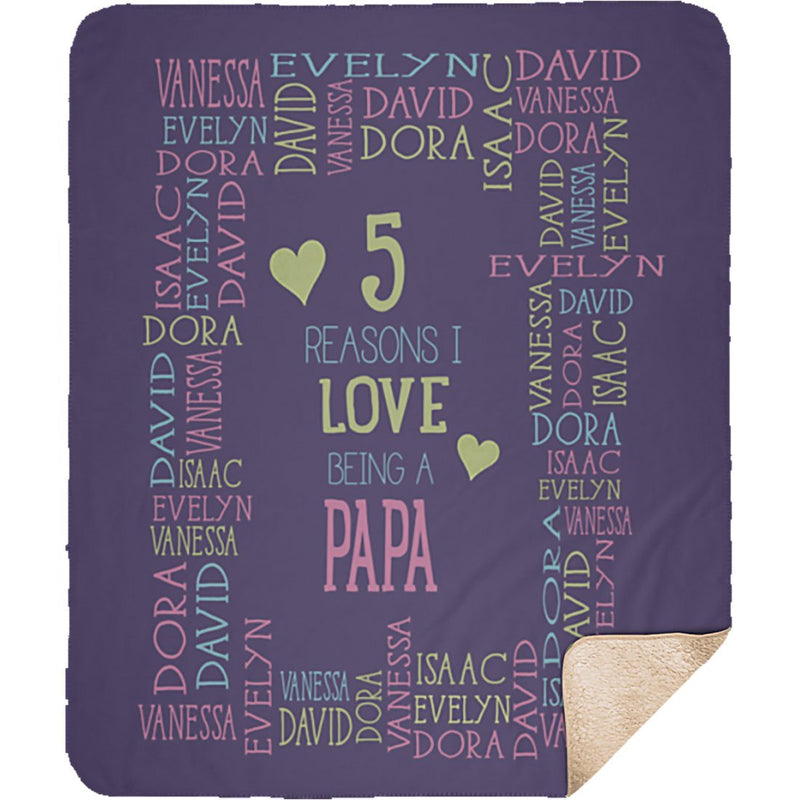 Personalized Name Blanket - Reasons I Love Being a Grandpa Grandma Papa Mommy Nana - Purple Sherpa Blanket - YehGift