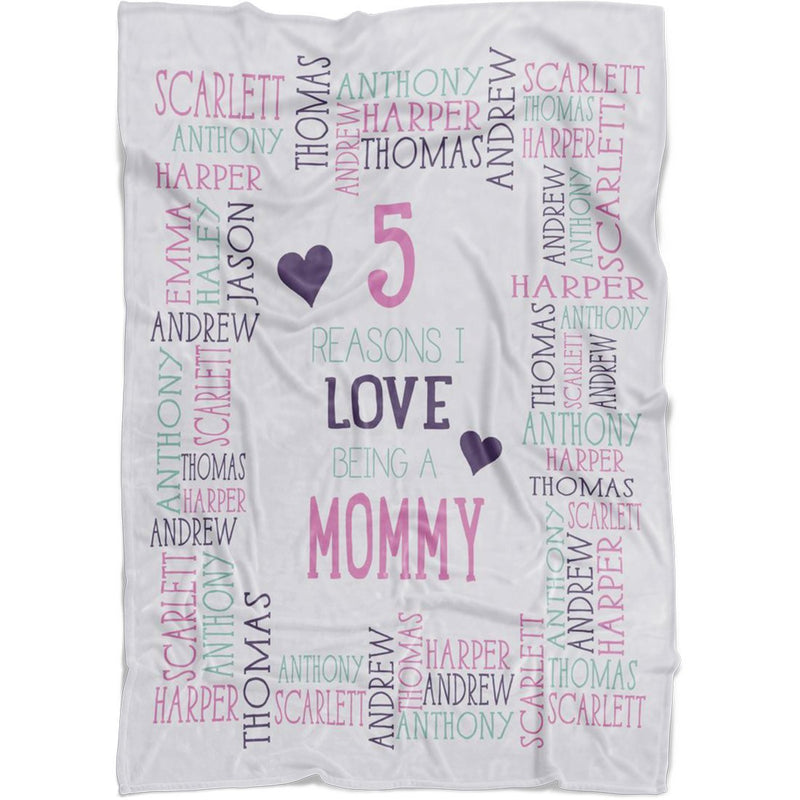Personalized Name Blanket - Reasons I Love Being a Grandpa Grandma Papa Mommy Nana - White Fleece Blanket - YehGift