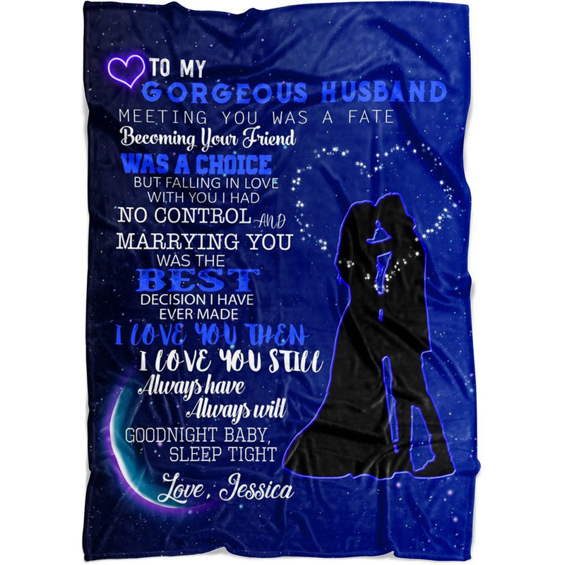 Personalized Name Blanket - To My Gorgeous Wife/Husband Meeting You Was A Fate.I Love You - Custom Wedding Blanket with Your Own Name - Best Gift for Birthday Xmas Anniversary - YehGift