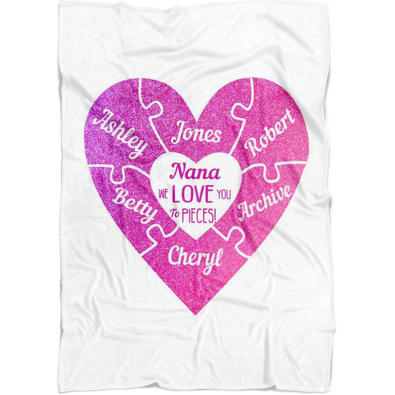 "Personalized Name Blankets - We Love You to Pieces Gift for Mom Dad Aunt Uncle Grandparents - Baby 30""x40"" Fleece Blanket - YehGift"