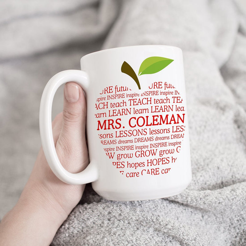 Personalized Name Teacher Mug Appreciation Gift - Custom Name on Apple & Quote Mugs Gifts For New Retiring Teacher. Desk Decor for Teacher Day Gifts - YehGift