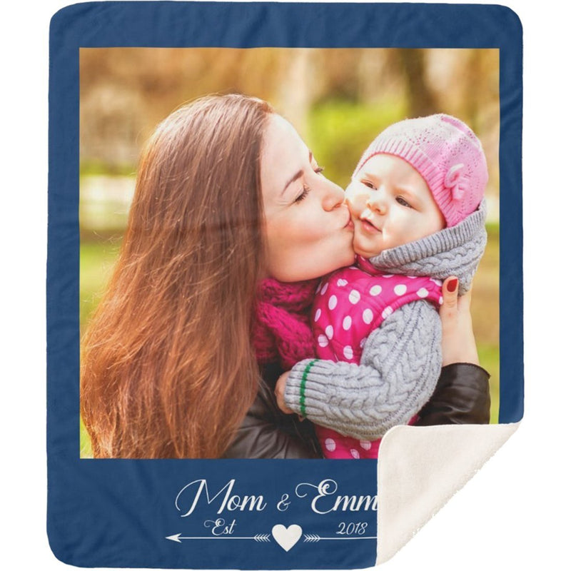 Personalized Photo Blanket - Create Your Own Customize Photo Sherpa Blanket With 1 Picture and Your Name & Special Year - YehGift