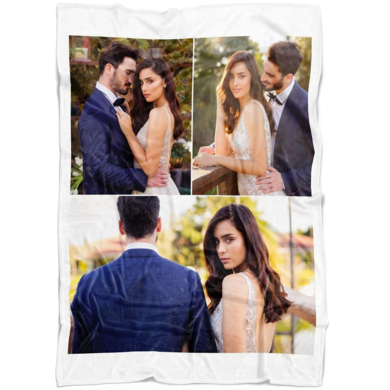 Personalized Photo Blanket - Create Your Own Fleece Blanket With 3 Pictures Collage - YehGift