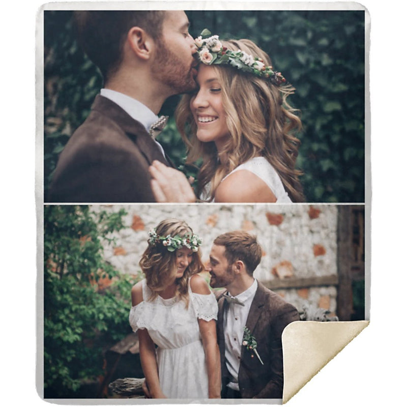 Personalized Photo Blanket - Create Your Own Sherpa Blanket With 2 Pictures Collage - YehGift
