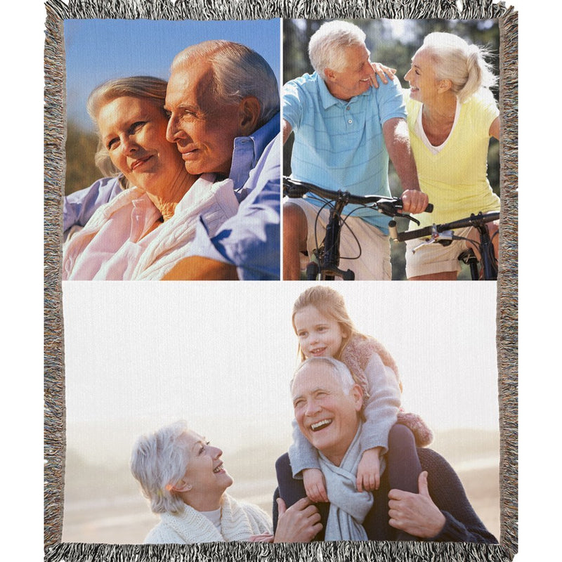 Personalized Photo Woven Blanket - Create Your Own Woven Blanket With 3 Pictures Collage - YehGift