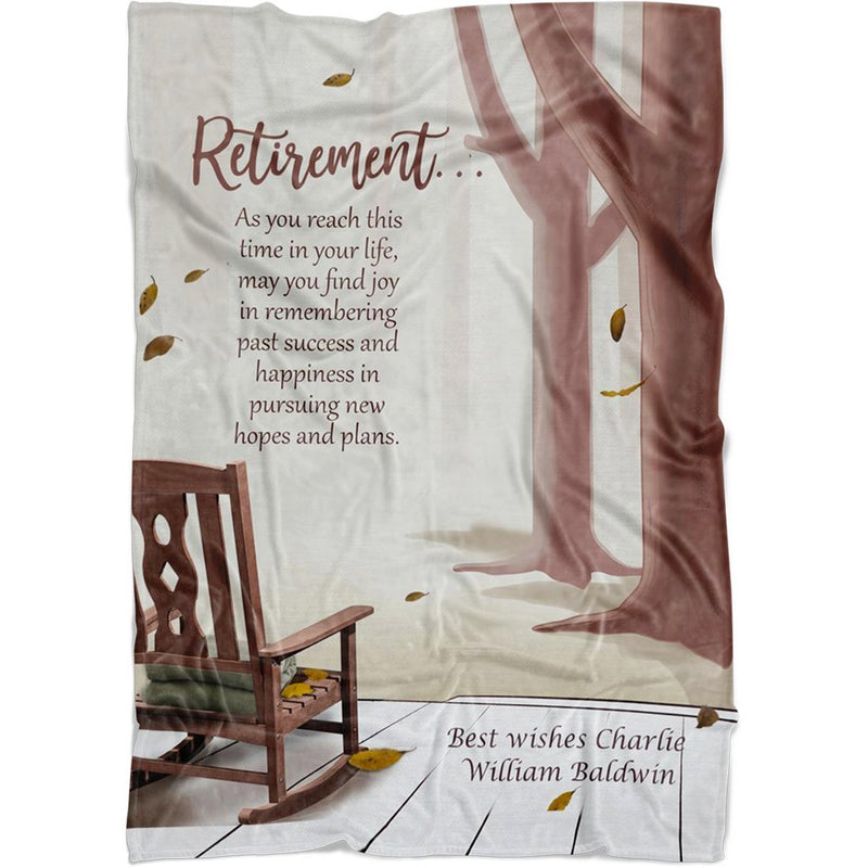 Personalized Retirement Throw Blanket - Custom Fleece Blanket with Any Name & Message. Embrace The Future Personalized Retirement Throw for New Retiree, Grandma & Grandpa