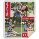 Personalized Sherpa Blanket 3 Images Collage - Custom from Your Photos & Your Favorite Text - YehGift