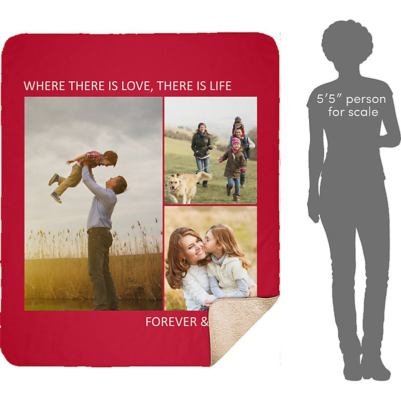 Personalized Sherpa Blanket 3 Images Collage Full Color. Custom from Your Photos. Fleece Blanket Super Soft for Baby & Adult - YehGift