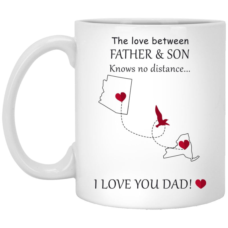 Personalized The love between a father mother and daughter son knows no distance Coffee Mug - US States Gift Mug For Grandma Grandpa - YehGift