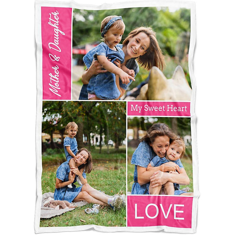 Personalized Throw Blanket 3 Images Collage - Custom from Your Photos & Your Favorite Text - YehGift