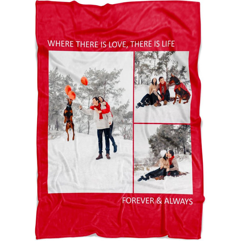 Personalized Throw Blanket 3 Images Collage Full Color. Custom from Your Photos. Fleece Blanket Super Soft for Baby & Adult - YehGift