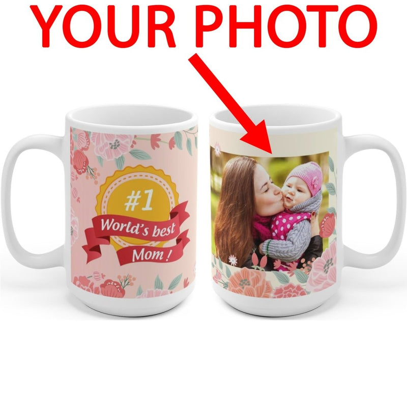 World's Best Mom Personalized Coffee Mug for Mothers Day - Add Your Photo to Customized Travel Mug Gift - YehGift