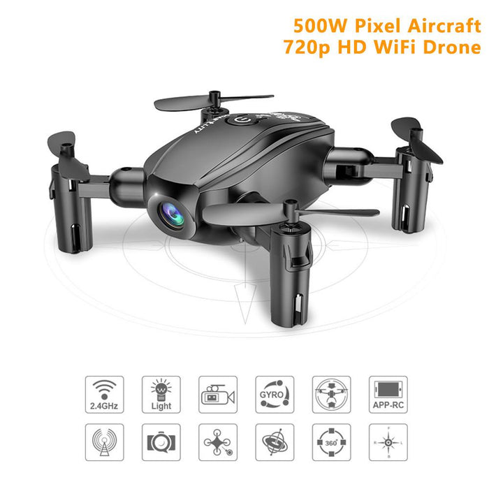 Midnight Black Remote WiFi Quadcopter Drone with 720P Wide Angle HD Camera - Cards and Gadgets