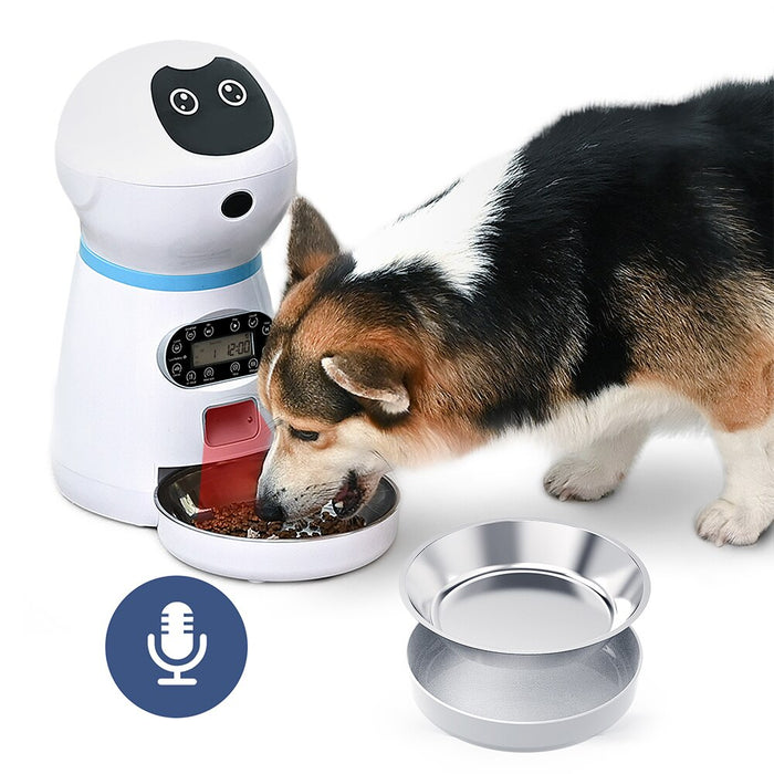 Automatic Robot Pet Feeder with Voice Record - Cards and Gadgets