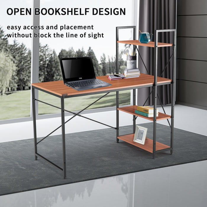 Free shipping  Computer Desk with 4 Tier Bookshelves,Compact Gaming Desk Modern PC Workstation Writing Table Home Office Desk 4 Tier Storage Rack Shelf for Office, Bathroom, Living Room - Cards and Gadgets