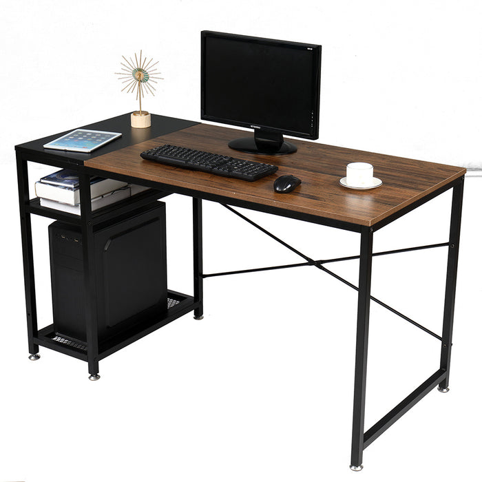 Computer Home Office Desk, 51 Inch Small Desk Study Writing Table with Storage Shelves, Modern Simple PC Desk with Splice Board, Walnut/Black - Cards and Gadgets