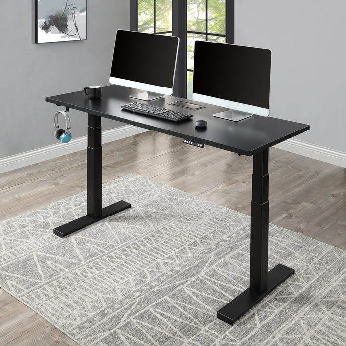Home Office Height Adjustable Electric Standing Desk, Modern Design 59 x23.6 Inches Computer Table for Healthy Working,Black - Cards and Gadgets