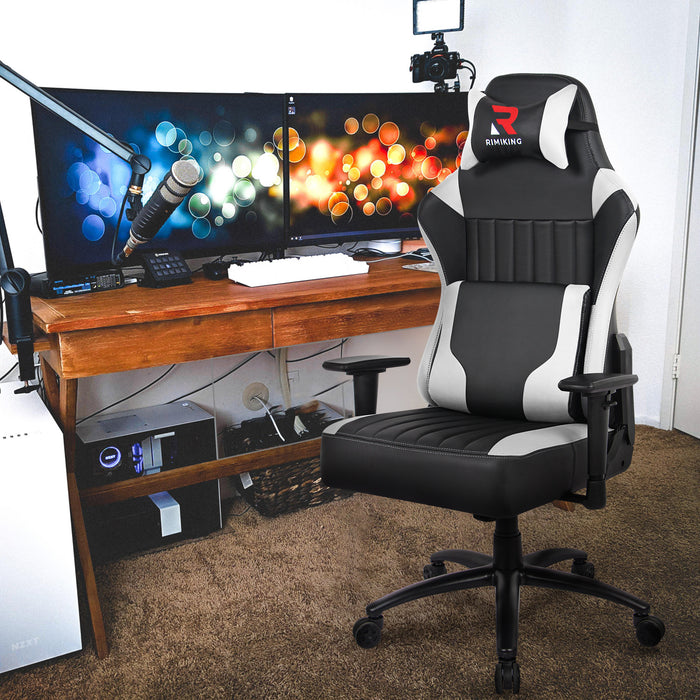 High Back Gaming Chair- Big Tall Ergonomic Adjustable Tilt Angle and 2D Arms Racing Executive Computer Desk Office Chair Rocking Metal Base Wide Backrest&Headrest - Cards and Gadgets