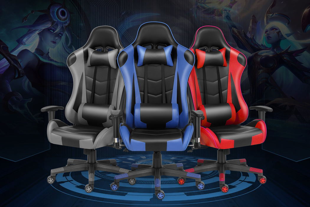 Free shipping Gaming Chair Office Chair High Back Computer Chair PU Leather Desk Chair PC Racing Executive Ergonomic Adjustable Swivel Task Chair with Headrest and Lumbar Support - Cards and Gadgets