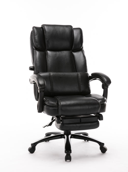 Big and Tall Reclining Office Chair - High Back Executive Computer Desk Chair with Adjustable Built-in Lumbar Support, Angle Recline Locking System and Footrest, Thick Padding for Comfort - Cards and Gadgets