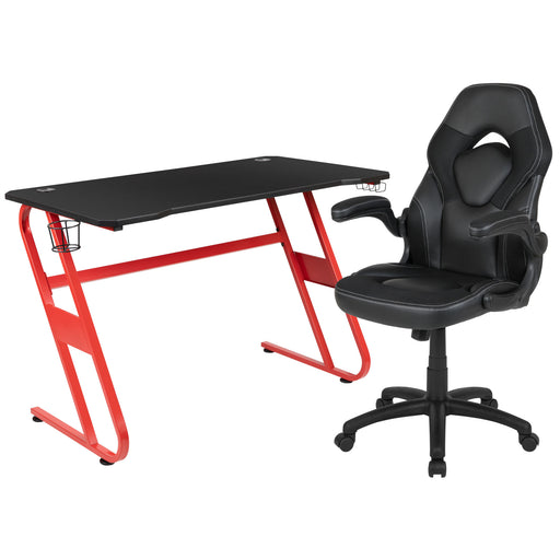 Gaming Desk and Racing Chair Set with Cup Holder and Headphone Hook - Cards and Gadgets