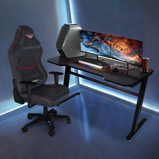 Gaming Desk- Z-Shaped Computer Desk - Cards and Gadgets