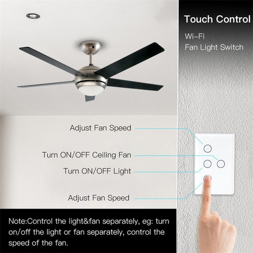 Smart WiFi 2.4GHz Fan Light Switch, In-Wall Ceiling Fan Lamp Switch US Versatile Smart Fan Light  High quality and design - Cards and Gadgets