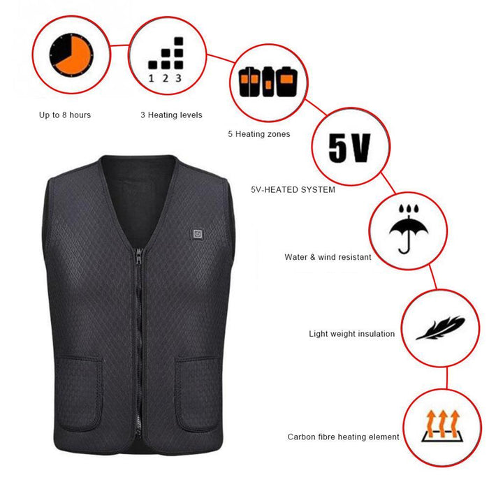 Unisex Smart Tech Fashion USB Heating Vest - Cards and Gadgets