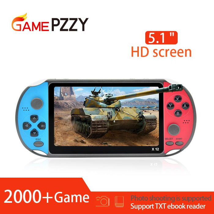 X12 5.1 inch Handheld retro Game Video Player Game Consoles with Double Rocker Built-in 2000+ Games Support TF Card - Cards and Gadgets