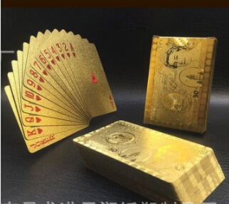 2020 Top Fashion Waterproof Gold Color Poker Cards Marvellous Luxury Foil Plated Plaid Playing Cards Deck Magic Card Party Games - Cards and Gadgets
